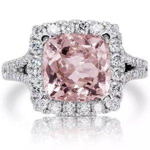 *NEW 5 ct Pink Topaz Diamond Halo Engagement Ring